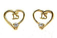 14kt Solid Yellow Gold Cubic Zirconia CZ Heart 15yr Earrings