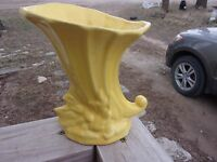 Vintage McCoy Art Pottery Cornucopia Yellow Vase ~Super Clean~