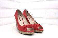 Prada Coral Suede Open Toe Cork Wedge Heels Size 39