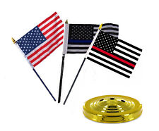 """USA / Blue / Red Thin Line Flags 4""""x6"""" Desk Set Table Stick Gold Base"""