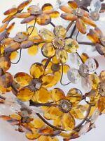Vintage French Amber Flower Prisms Maison Bagues Style Antique Chandelier Lustre