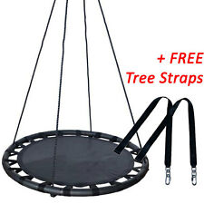 100cm Black Round Web Mat Nest Swing + FREE Tree Straps