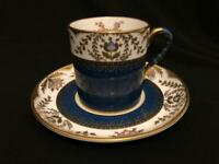 SPODE COPELAND BLUE REGENT PATTERN Y3963 COFFEE ESPRESSO CUP / CAN & SAUCER VGC