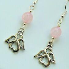Guardian Angel Earrings Rose Quartz 925 Sterling Silver Hooks Drop Dangle LB185