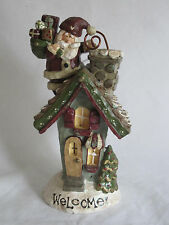 Kurt Adler Snowtown Santa On Roof Chimney Welcome