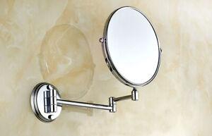 Chrome Brass Folding Arm Wall Mount Magnifying Cosmetic Bathroom Mirror  aba626