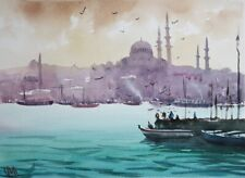 Istanbul Harbour, Turkey, Watercolour painting