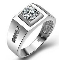 White Gold Plated Men's Wedding Ring With White Cubic Zirconia