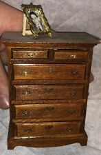 Vintage Dollhouse Miniature Wood Early Dresser! 6 Drawer Chest!