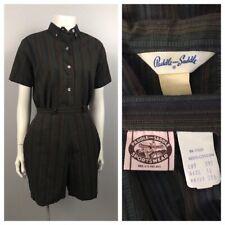 1950s Cotton Playsuit / 60s Striped Cotton Seersucker Blouse with Shorts Set /XS