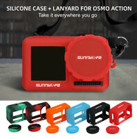 Soft Silicone Cover Body Lens Protective Case W/ Lanyard for DJI OSMO ACTION
