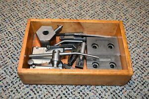 Lot of Machinist Work Holding Inspection Grinding Tools In Wood Tray