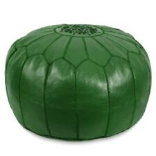 Premium New Moroccan Leather Ottoman Pouffe Pouf Footstool In Emerald Green