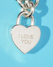 """Tiffany & Co NOTES """"I LOVE YOU"""" Heart Sterling Silver Padlock Charm ONLY"""