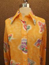 NOS NEW Vtg 60s Semi Sheer Nylon ARTSY BUTTERFLY PRINT Button Down Shirt Sz 14
