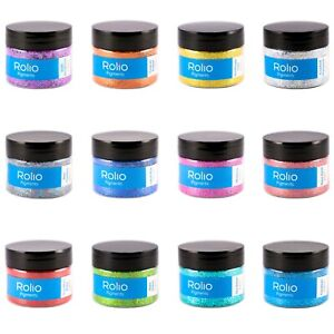 Rolio Pure Holographic Craft Glitters - 12 Jars 180 Grams Resin, Makeup Glitter