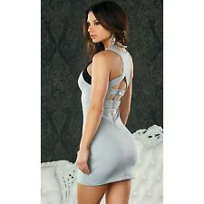 SEXY MINI ABITO ELEGANTE ADERENTE STRETCH TRAFORATO GRIGIO NERO FORPLAY DRESS M