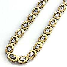 Men Hip Hop Stainless Steel Gold Silver Tone Flat Link Byzantine Chain Necklace