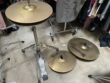 "Headliner Drum Percussion Set Lot Swivel base, Cymbals & Stand 14"" 16"" 20"" LOOK"