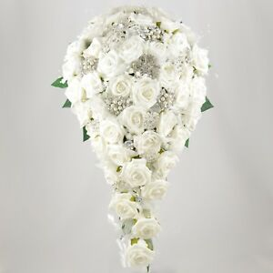 Artificial Wedding Flowers Brides Teardrop Bouquet White Rose Diamante Brooches
