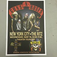 GUNS N ROSES - CONCERT POSTER RITZ NEW YORK WEDNESDAY 15th MAY 1991 (A3 SIZE)
