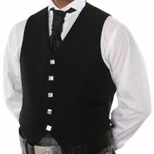 SPECIAL OFFER 100% WOOL 5 BUTTON BLACK WAISTCOAT SCOTTISH PRINCE CHARLIE, ARGYLE