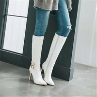 Sexy Womens Knee High Boots Pointy Toe Stiletto Heels Patent Leather Zip Shoes