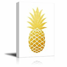 wall26 - Canvas Wall Art - Gold Glitter Pineapple on White Background - 12x18