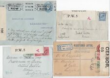 # 1916/18 4 x CENSORED UK COVERS >SWITZERLAND H/S A ON 2 CENSOR LABELS WAR BONDS