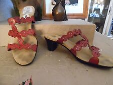 Sbicca Red Strappy Sandal Mules w/Designs. Size 9.