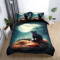 3D Moon Night Cat Halloween Bedding Set Duvet Cover Pillowcase Comforter Cover