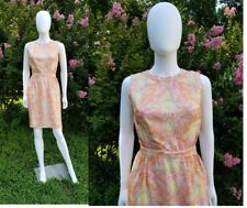"""Vtg 1960s """"Dynasty"""" Silk pink paisley print fitted pin up rockabilly dress 23"""""""