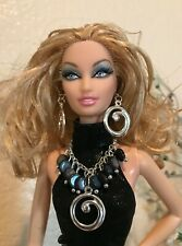 Handmade Jewelry For Barbie Hematite and Silver Necklace and Earrings