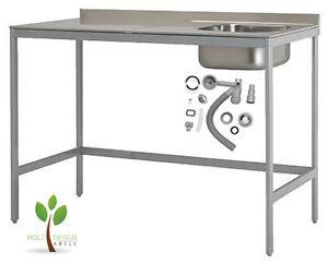 IKEA UDDEN Spüle Spültisch Spülentisch Spülbecken Edelstahl Tisch mit Siphon NEU