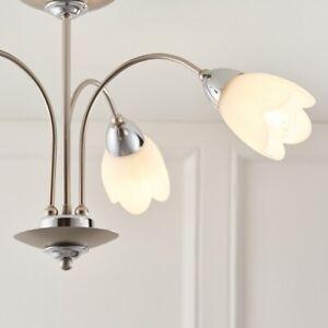 FLORA 3 Way E14 Semi Flush Ceiling Light Satin Chrome Flower Shaped Glass Shades