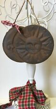 Primitive Rustic Blackened Beeswax Spicy Sun And Moon Ornament Prim Folk Art