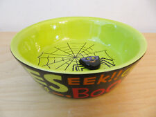 "NEW Hallmark Halloween Glazed Porcelain ""Spider"" Candy Treat Dish Bowl"