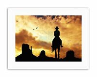 COMPOSITION COWGIRL SILHOUETTE MONUMENT VALLEY Canvas art Prints