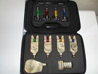 4 x TMC Slim Camo bite alarms + receiver, 4 x illuminated chains, LED, Carp,