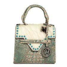 Raviani Mini Satchel Bag In Turquoise croco & Hair on Leather W/TQ stones