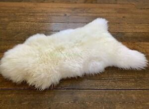 White Sheepskin rug leather 100% Natural made of English Sheep Reindeer Cowhide