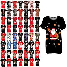 Womens Baggy Turn Up Sleeve Christmas Santa Sack Gifts Snowflakes Ladies T Shirt