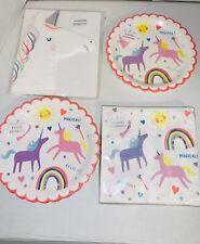 Meri Meri Unicorn Brithday Set Napkins And Plates