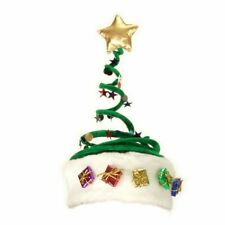 Adult Green Elope Springy Decorated Christmas Tree Hat with Star and Presents