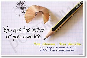 NEW Classroom School Motivational POSTER - You Are the Author of Your Own Life