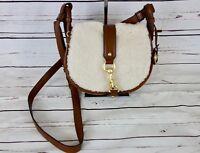 NEW Michael Kors Jamie Medium Saddle Bag Shearling Dark Caramel MSRP $298