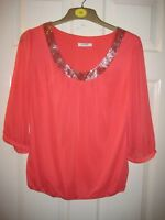 New Wallis Pink blouse/top size small petite, with 3/4 sleeves