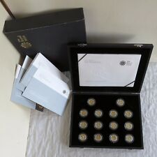 UK 2008 25th ANNIVERSARY OF 14 X £1 GOLD SILHOUETTE SILVER PROOF SET - complete