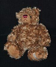 Peluche doudou ours LOUISE MANSEN brun marron nez brodé bordeaux 21 cm TTBE