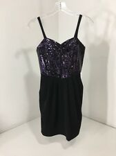 BANANAS MONKEY WOMEN'S BODYCON DRESS BLK/PURPLE SMALL NWT